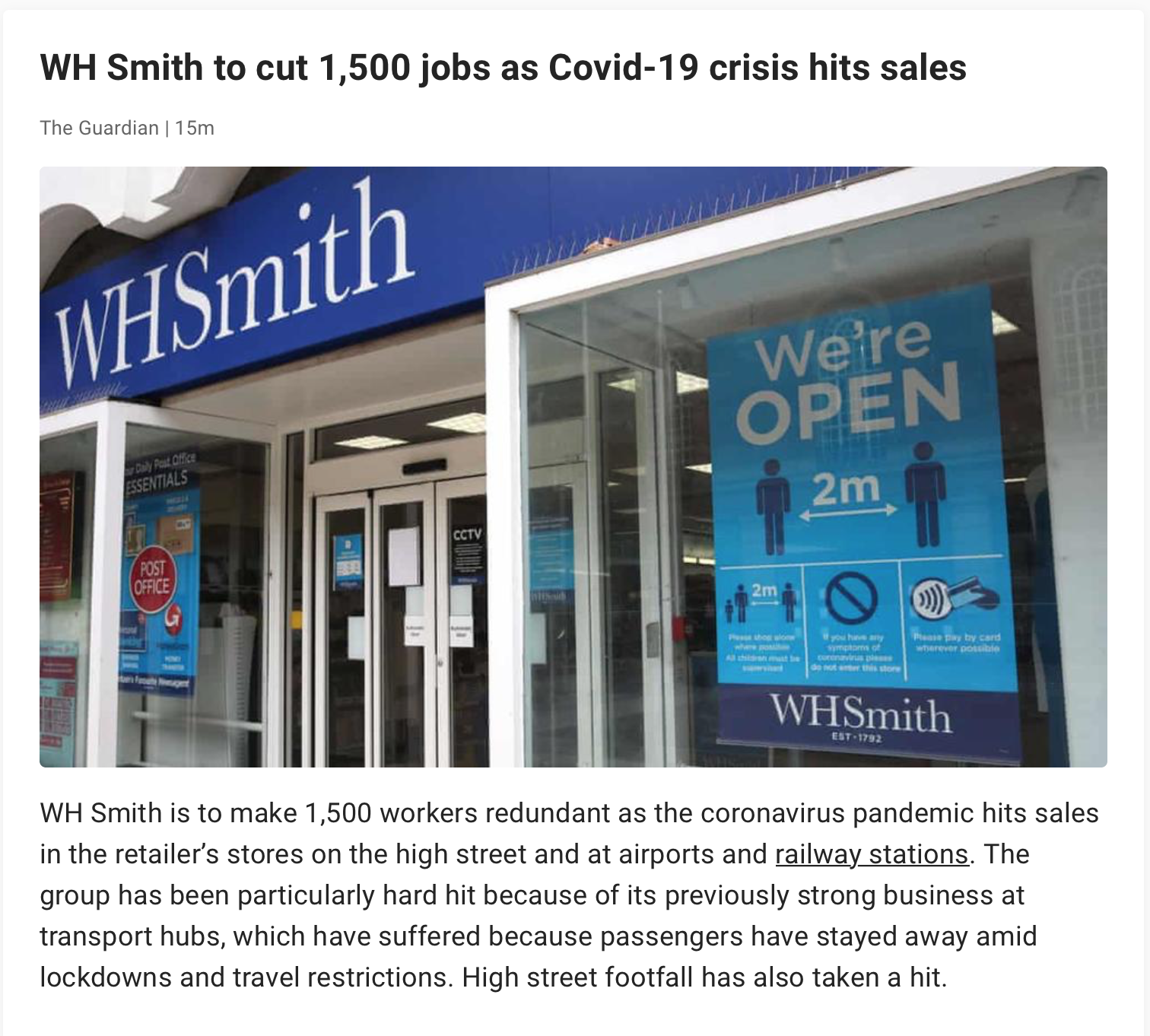 WHSmith shed 1500 jobs