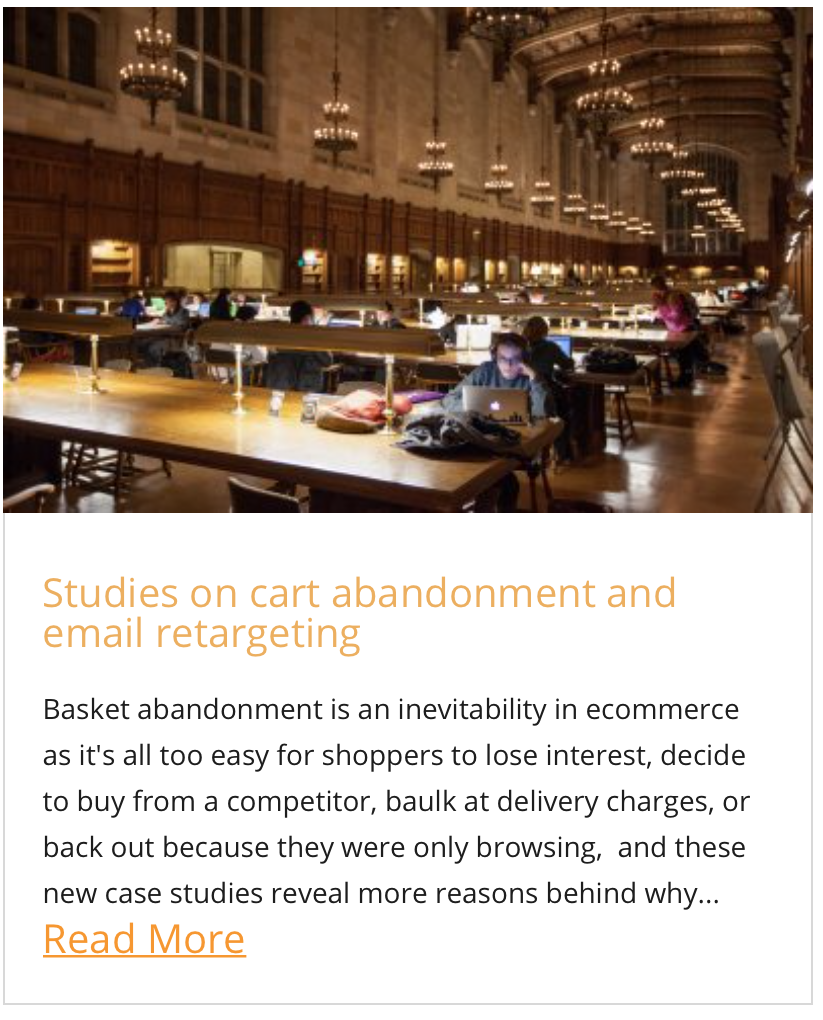 Studies on cart abandonment and email retargeting
