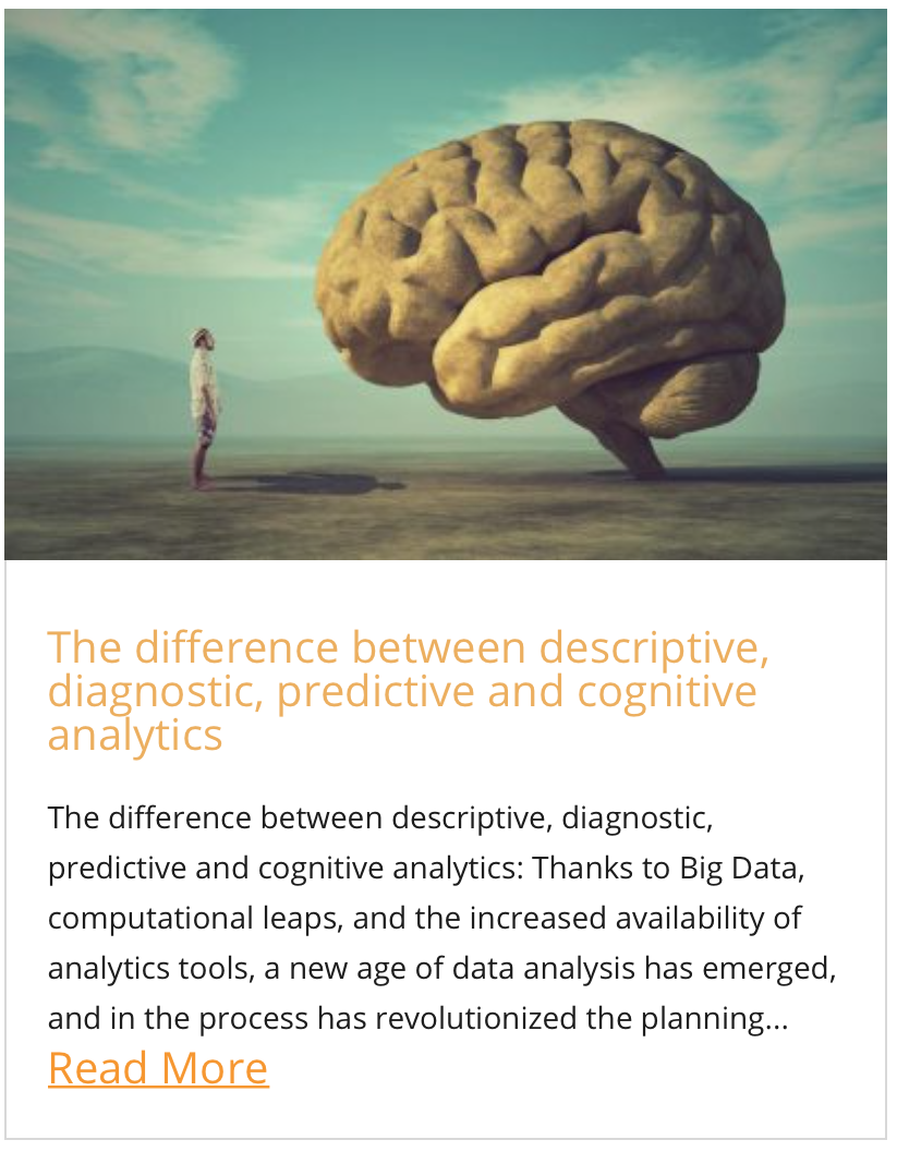 The difference between descriptive, giagnostic, predictive and cognitive analytics