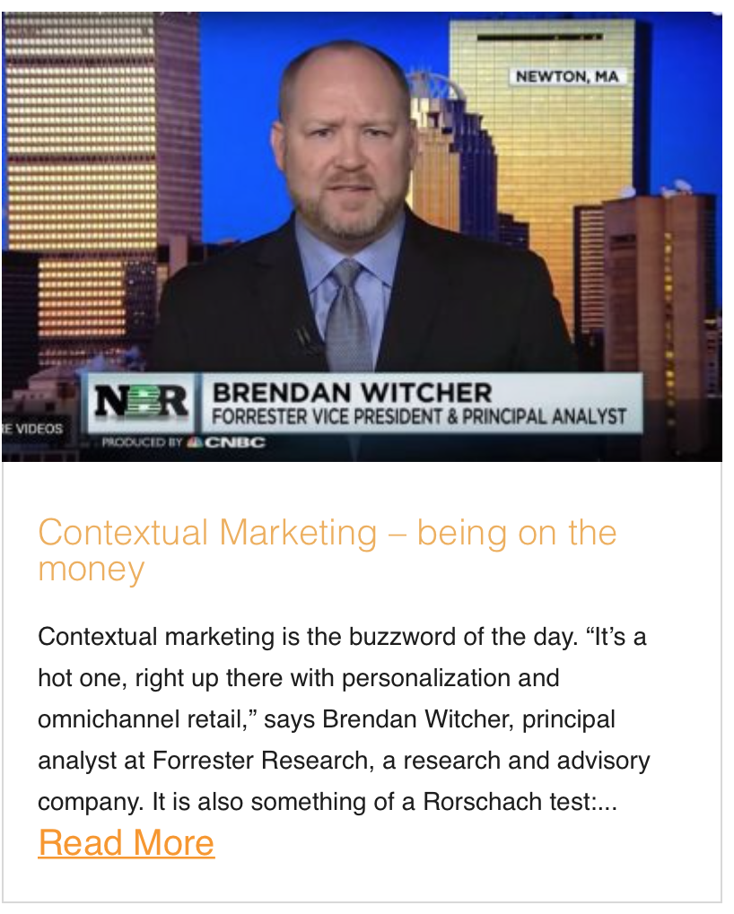 Contextual Marketing – being on the money