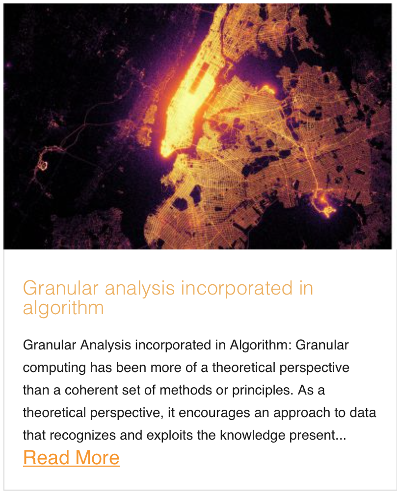 Granular analysis incorporated in algorithm