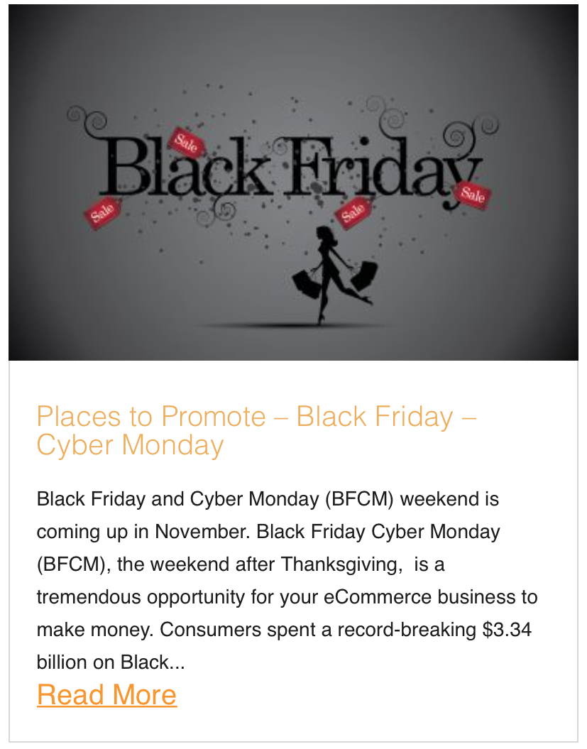 Places to Promote – Black Friday – Cyber Monday