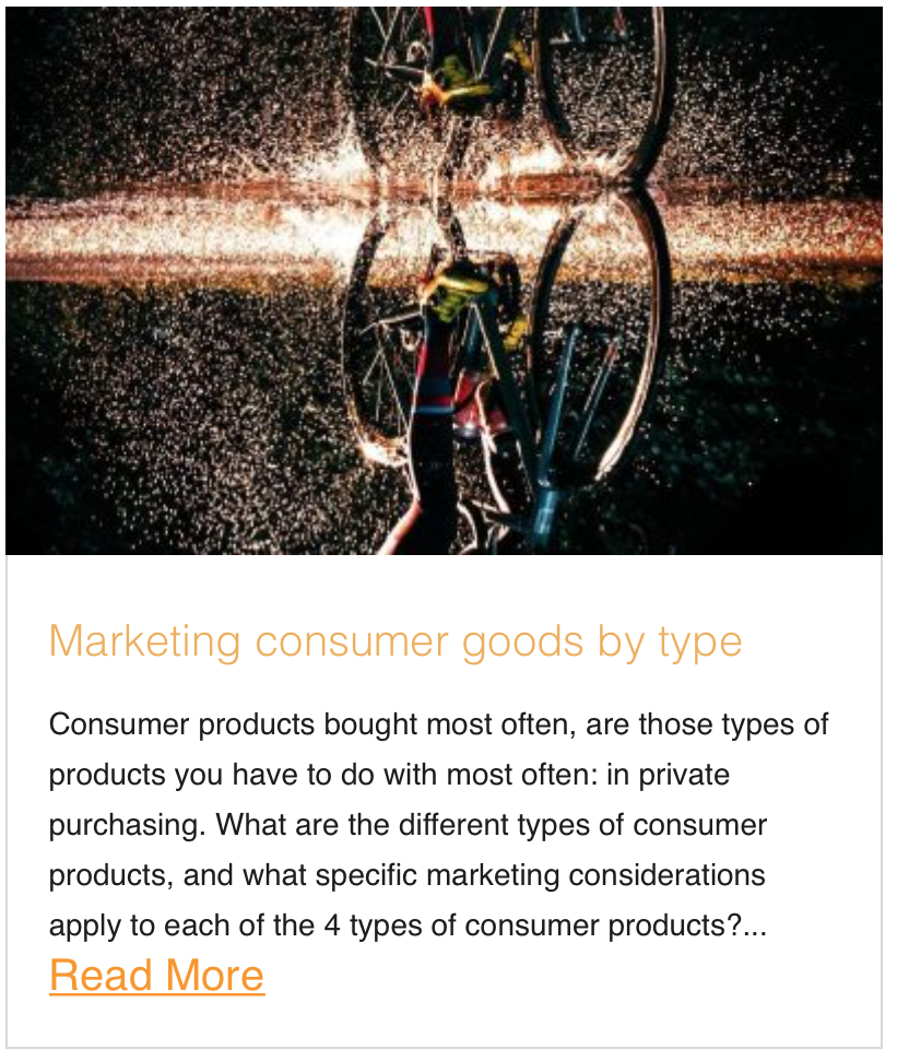 Marketing consumer goods by type