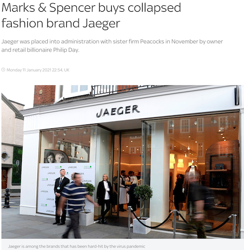 Marks & Spencer buys collapsed fashion brand Jaeger