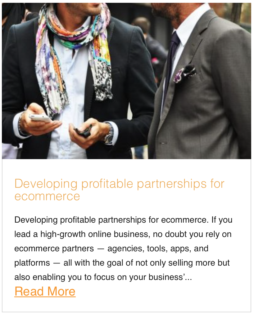 Developing profitable partnerships for ecommerce
