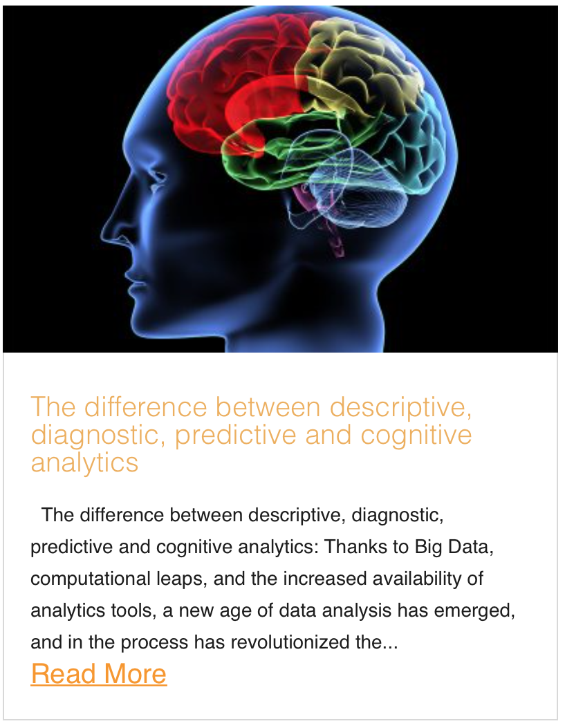The difference between descriptive, diagnostic, predictive and cognitive analytics