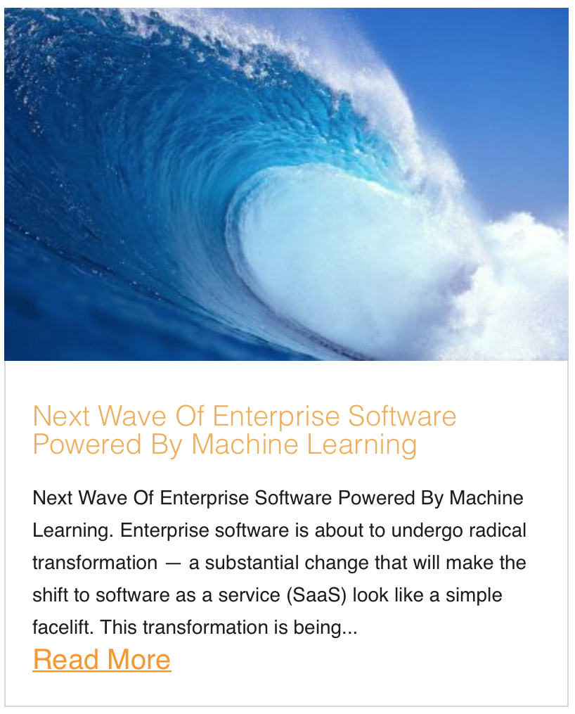 Next Wave Of Enterprise Software Powered By Machine Learning