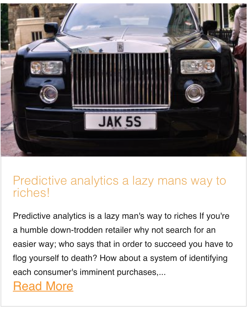 Predictive analytics a lazy mans way to riches!