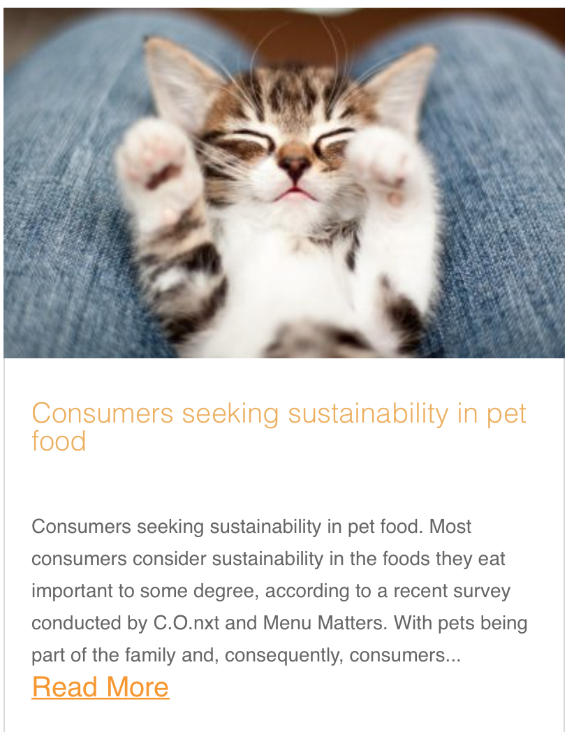 Consumers seeking sustainability in pet food