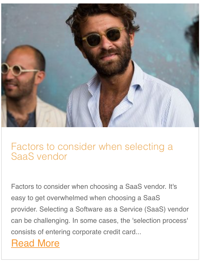 Factors to consider when selecting a SaaS vendor