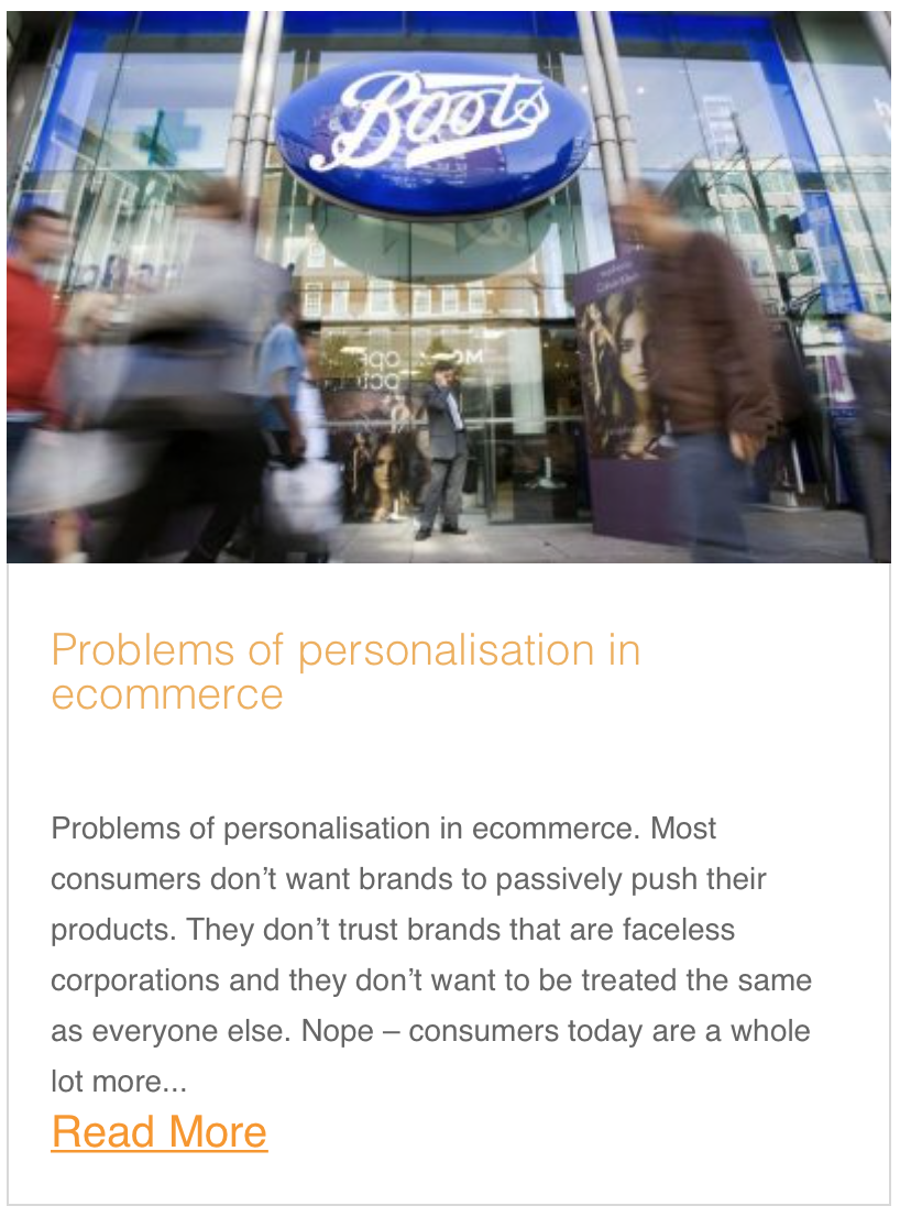 Problems of personalisation in ecommerce