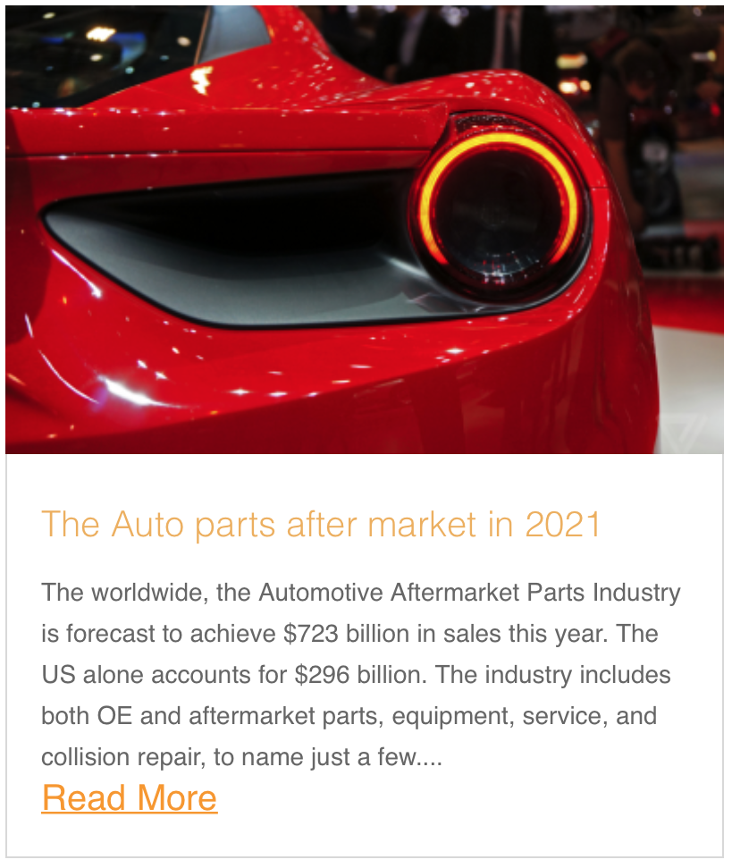 The Auto parts aftermarket in 2021