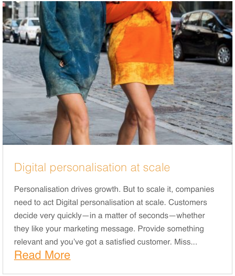 Digital personalisation at scale