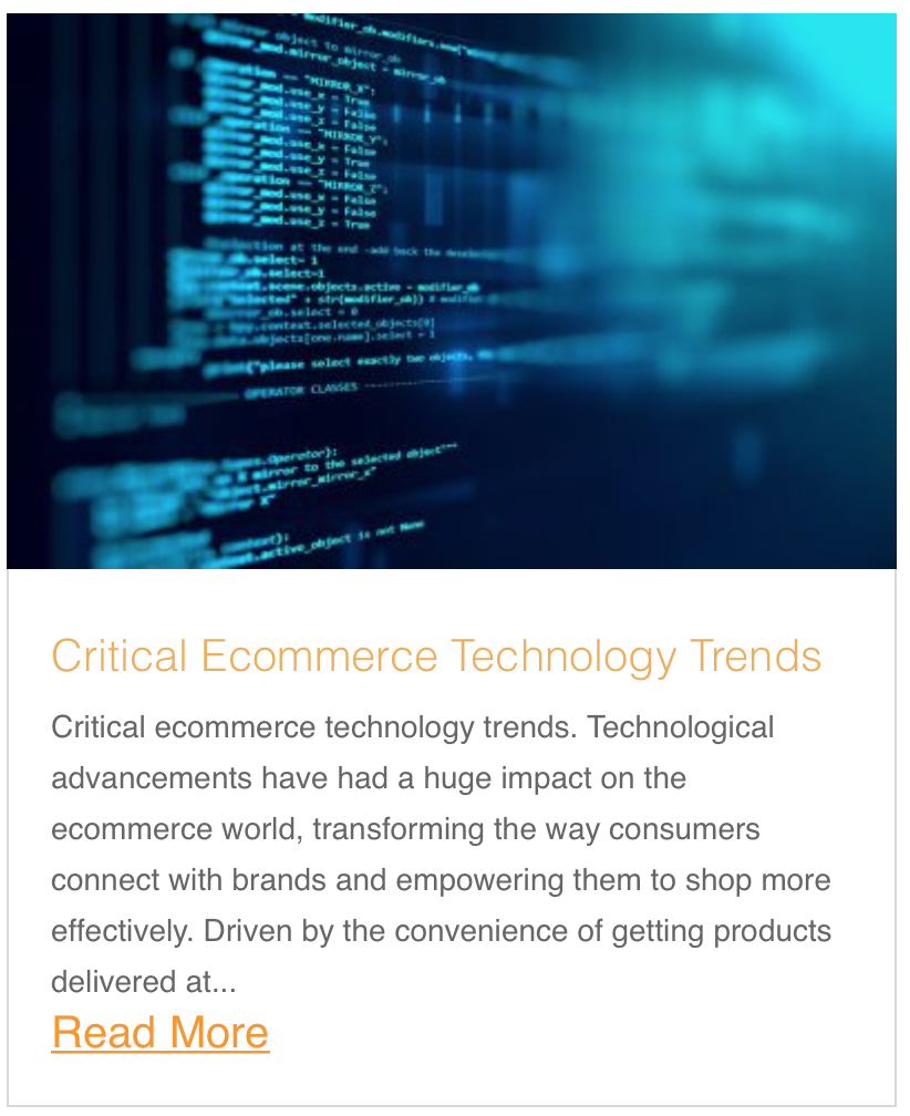 Critical Ecommerce Technology Trends