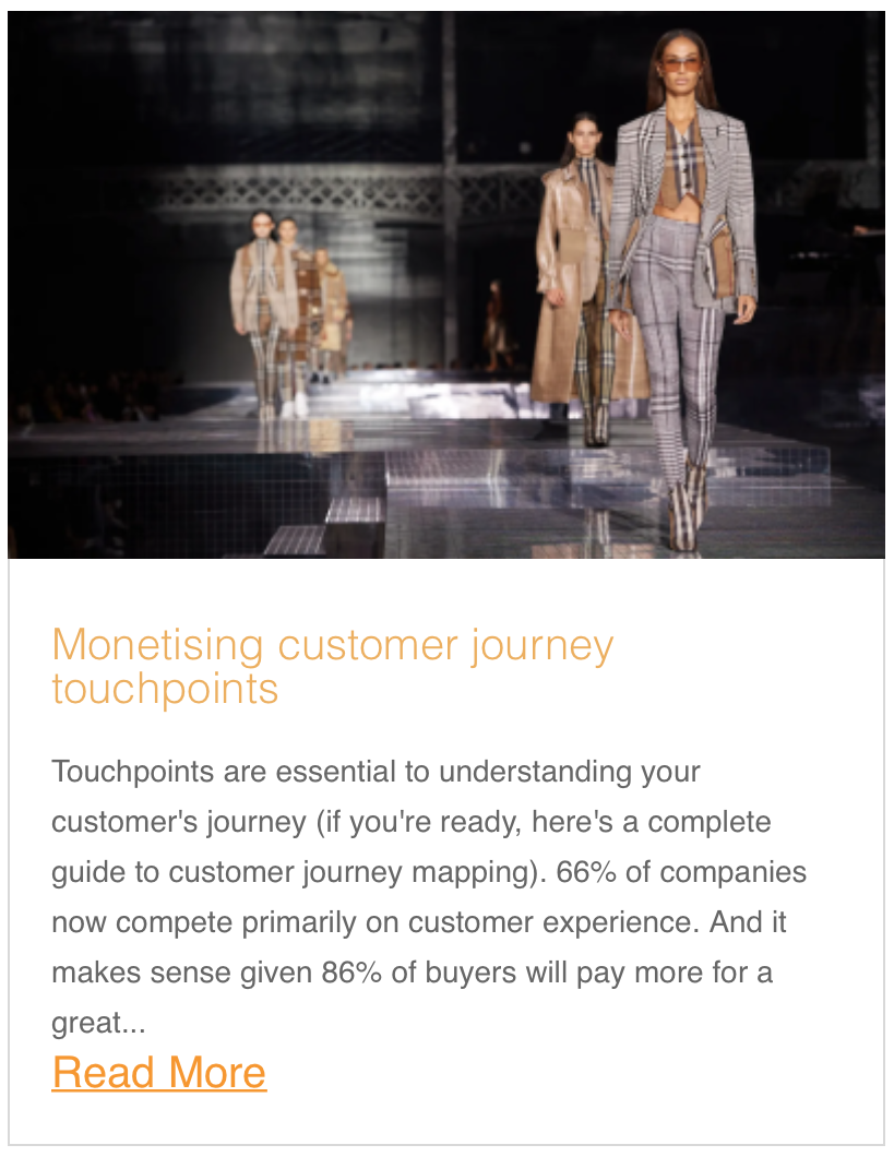 Monetising customer journey touchpoints