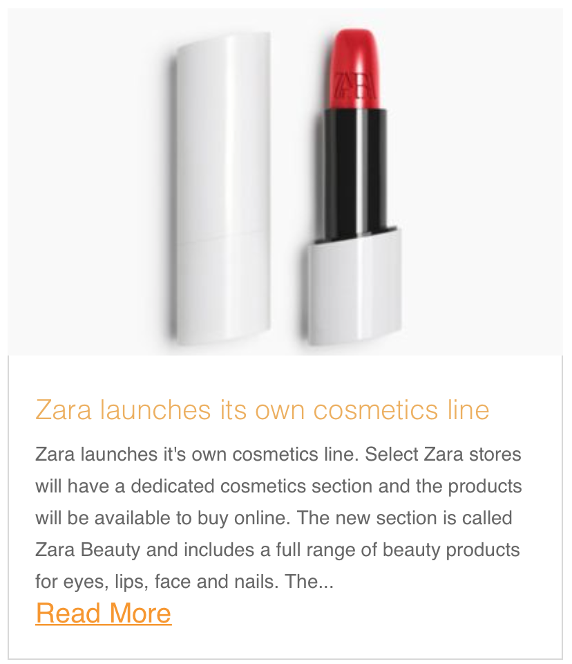Zara launches its own cosmetics line